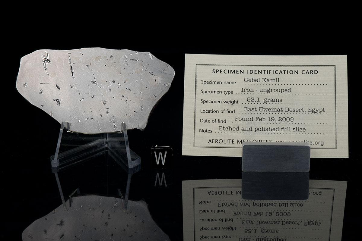 Gebel Kamil 53.1 Grams with specimen id card