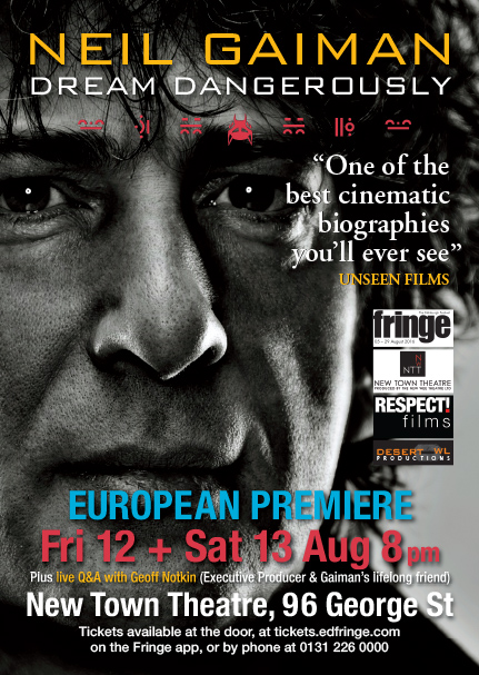 Poster of Neil Gaiman for Dream Dangerously premiere at Edinburgh Fringe