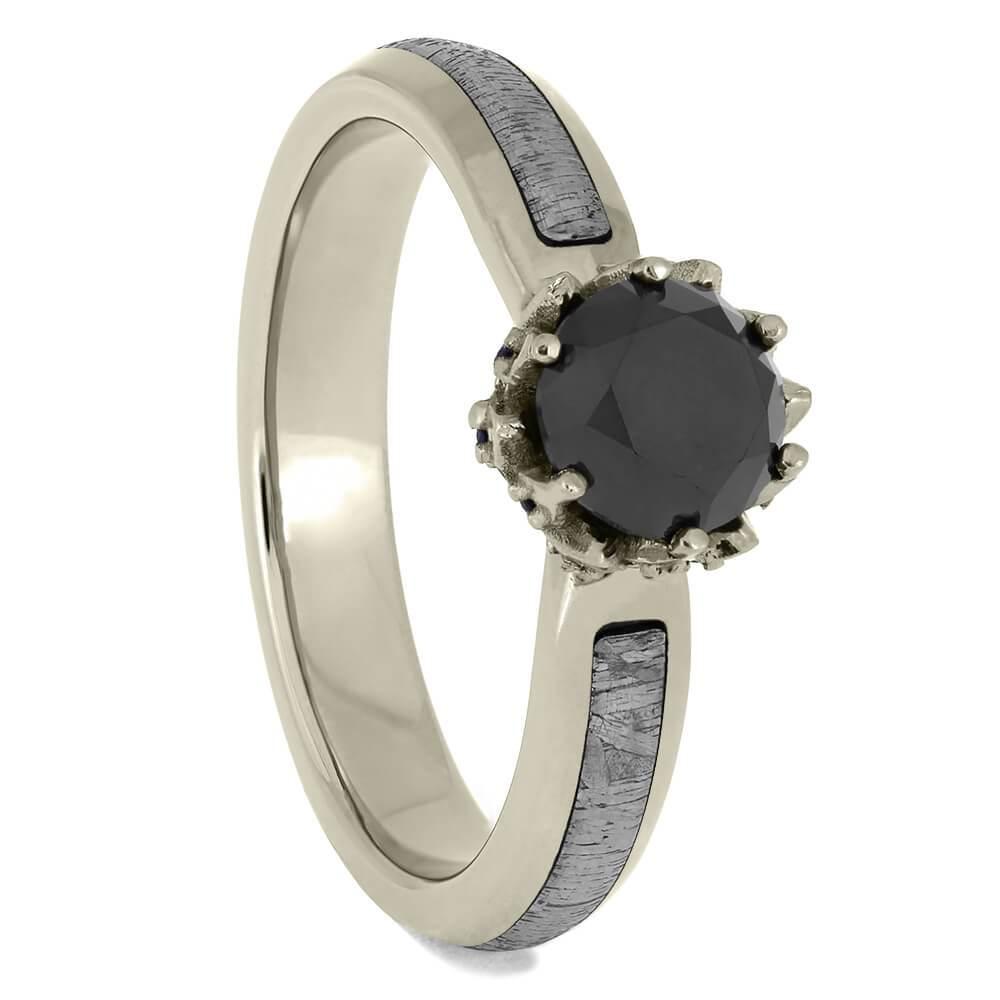 Black Diamond Sapphire Setting Meteorite Ring