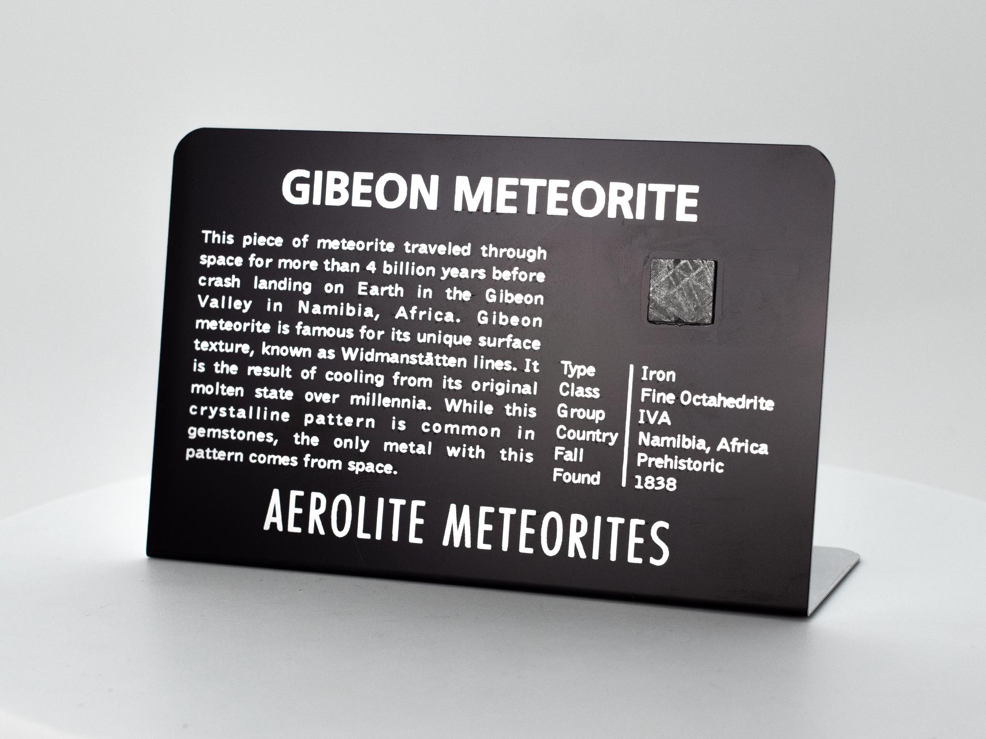 gibeon iron meteorite plaque