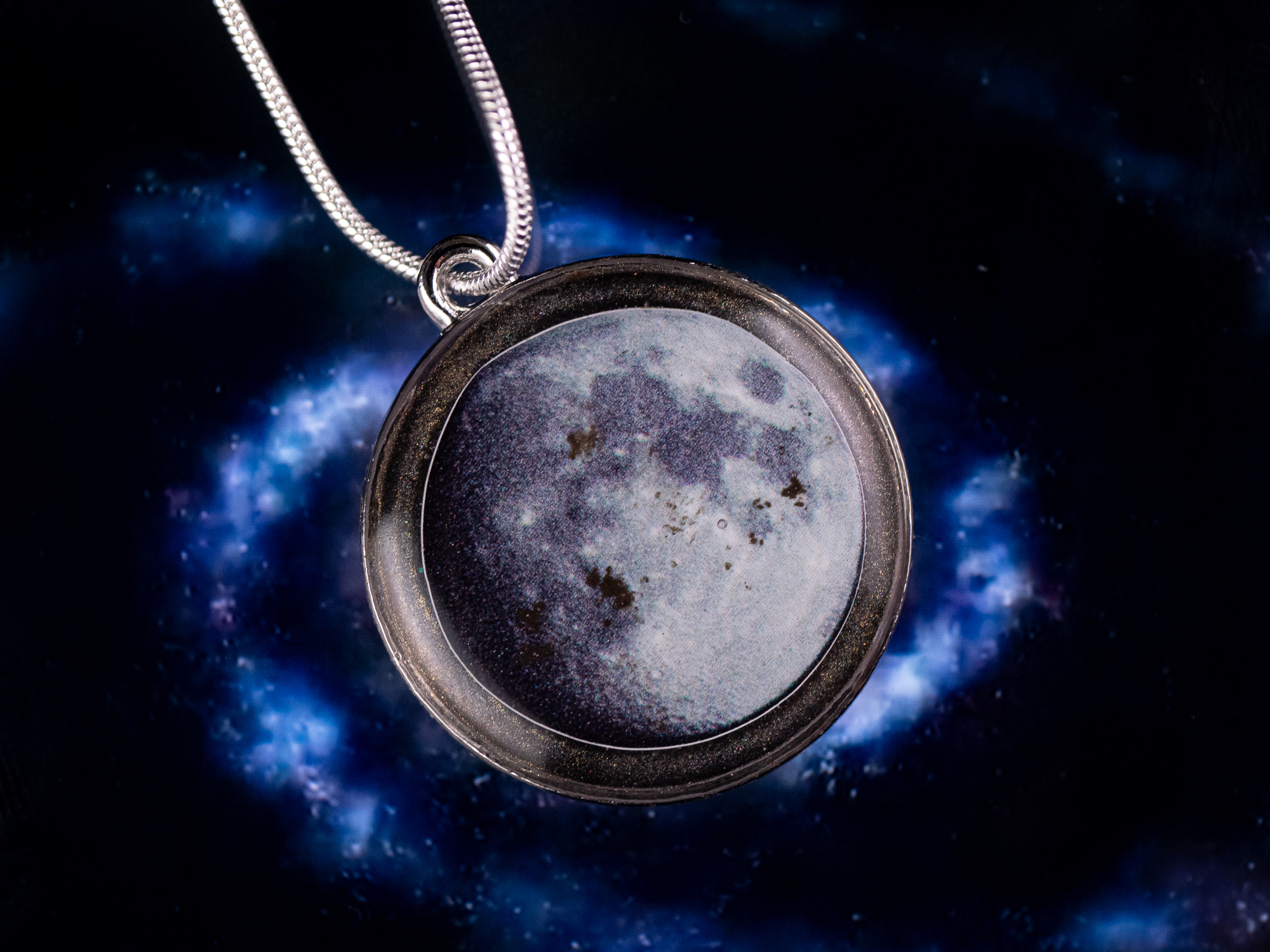 metal moon dust pendant