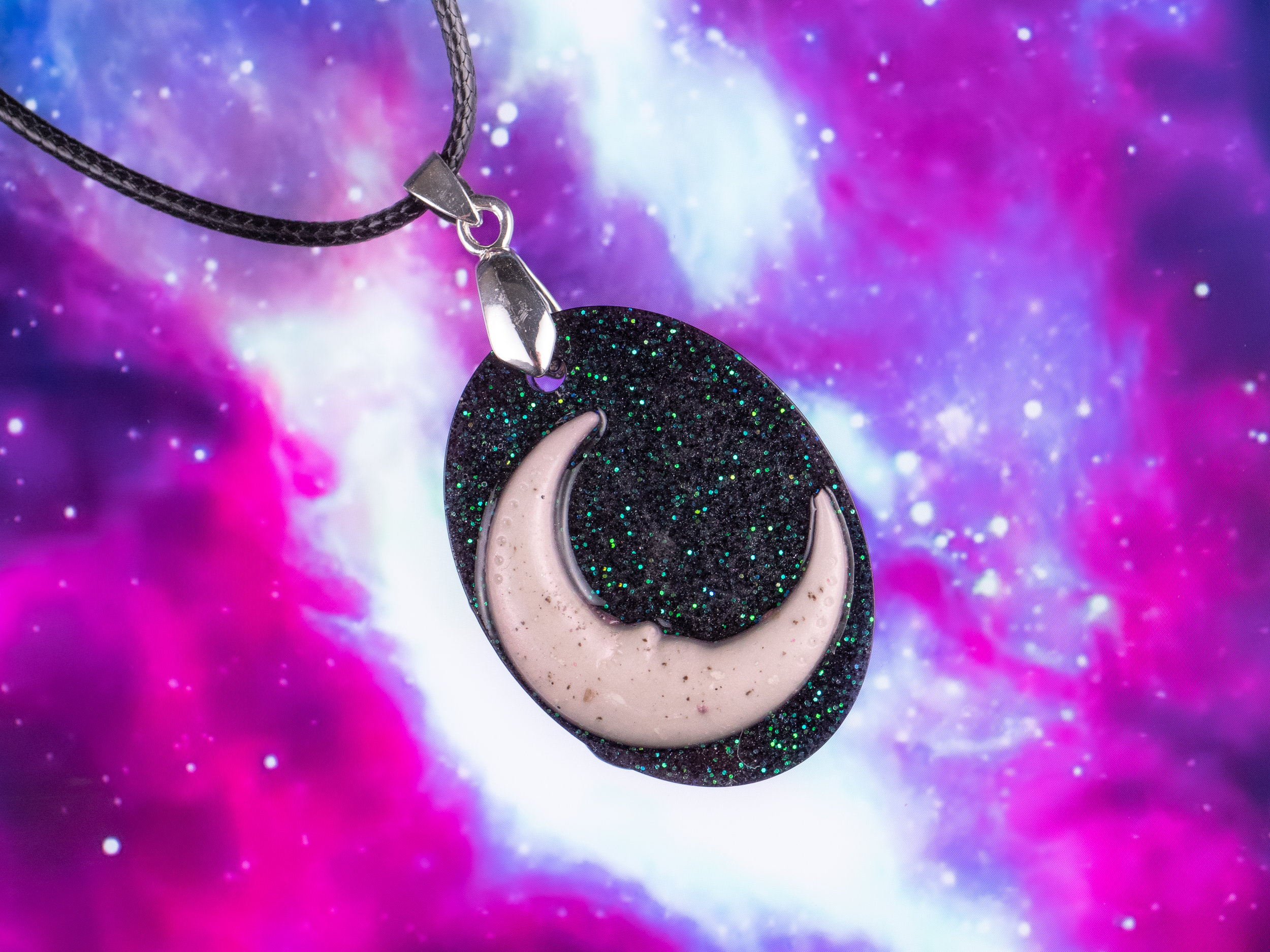 oval moon and stone dust pendant