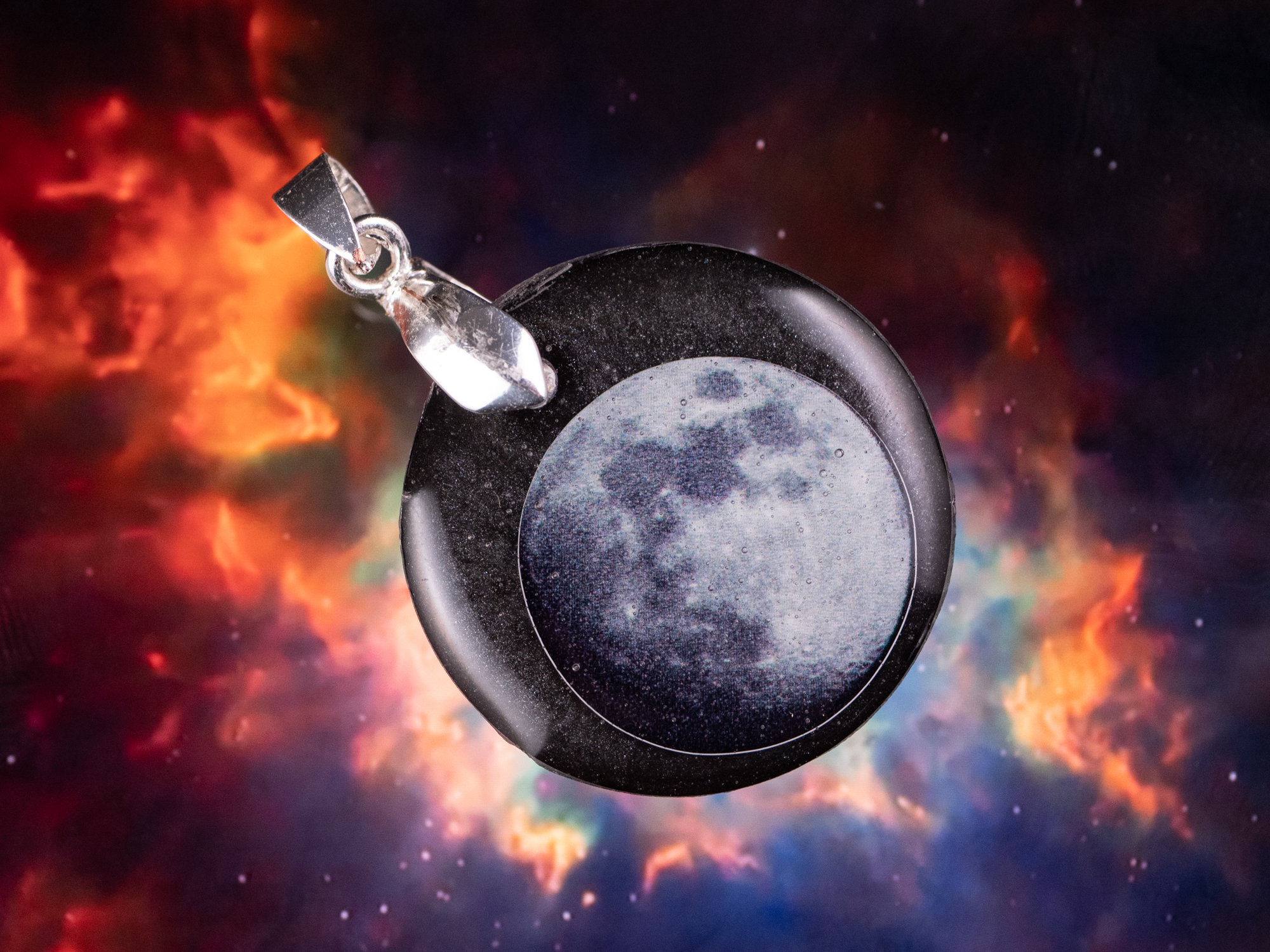galaxy series moon necklace
